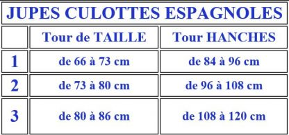 Taille jupe traditionnelle espagnole