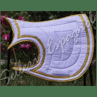 tapis baroque Luna blanc galons argent