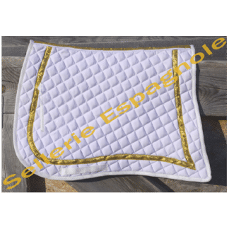 tapis pointe matelassé blanc or