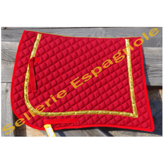 tapis pointe rouge galon or