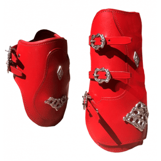 Guêtres portugaises cortesia en cuir rouge